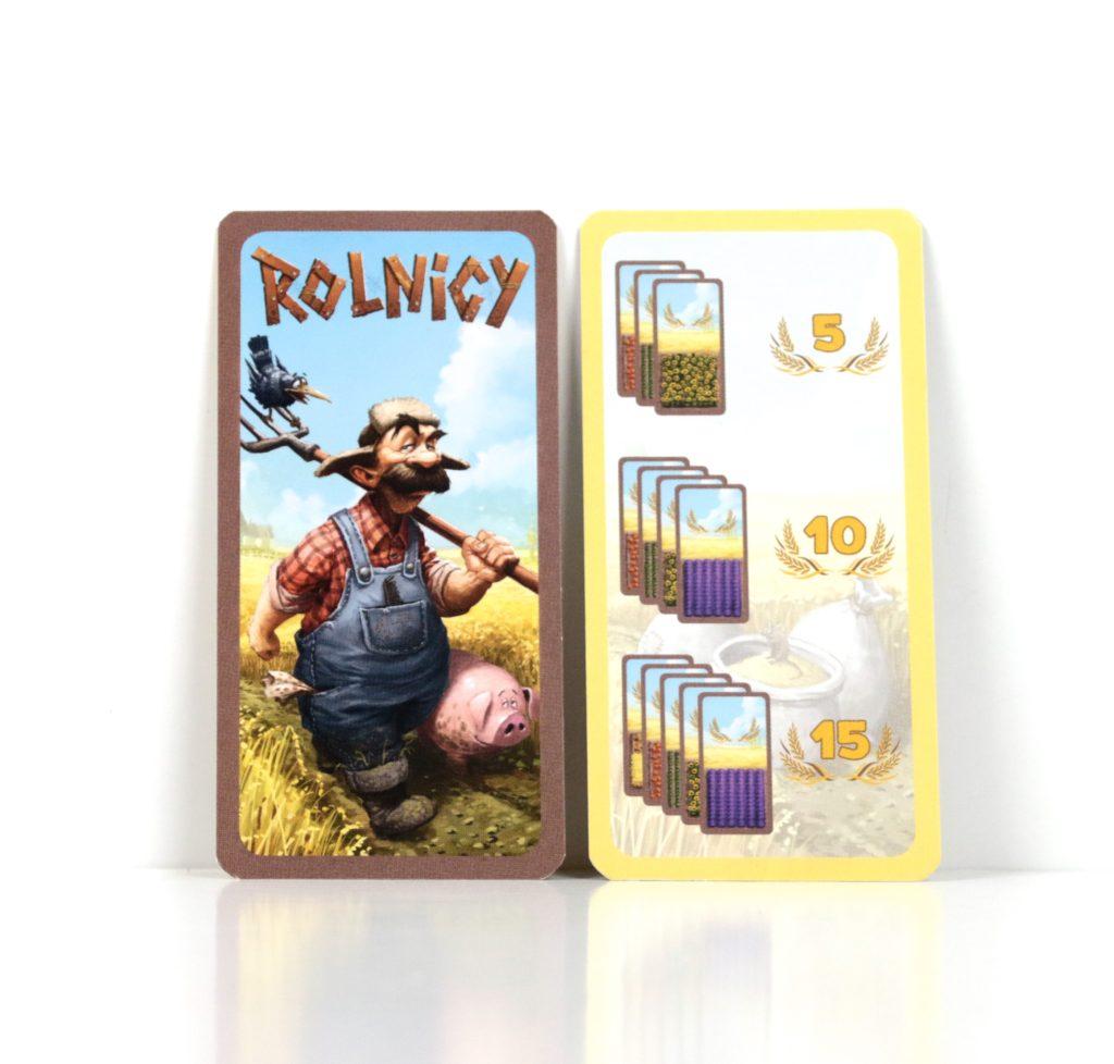 Karta gracza rozpoczynającego i karta punktacji w grze Rolnicy